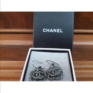CHANEL Authentic Classic Crystal CC Earrings
